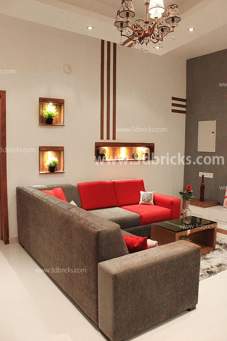 Flat Interiors:  Living room by 3DBricks,Modern