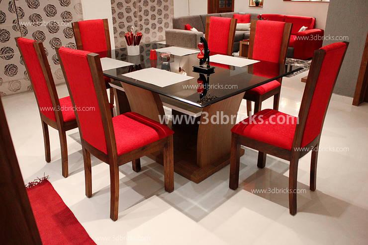 Flat Interiors:  Dining room by 3DBricks,Modern