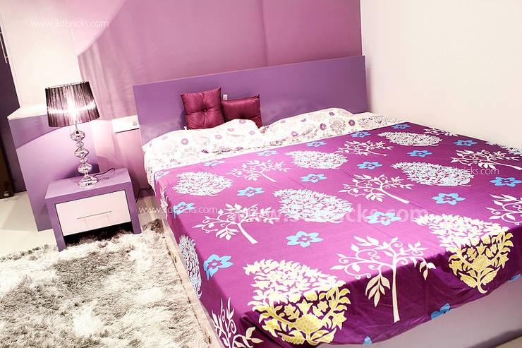 Flat Interiors:  Bedroom by 3DBricks,Modern