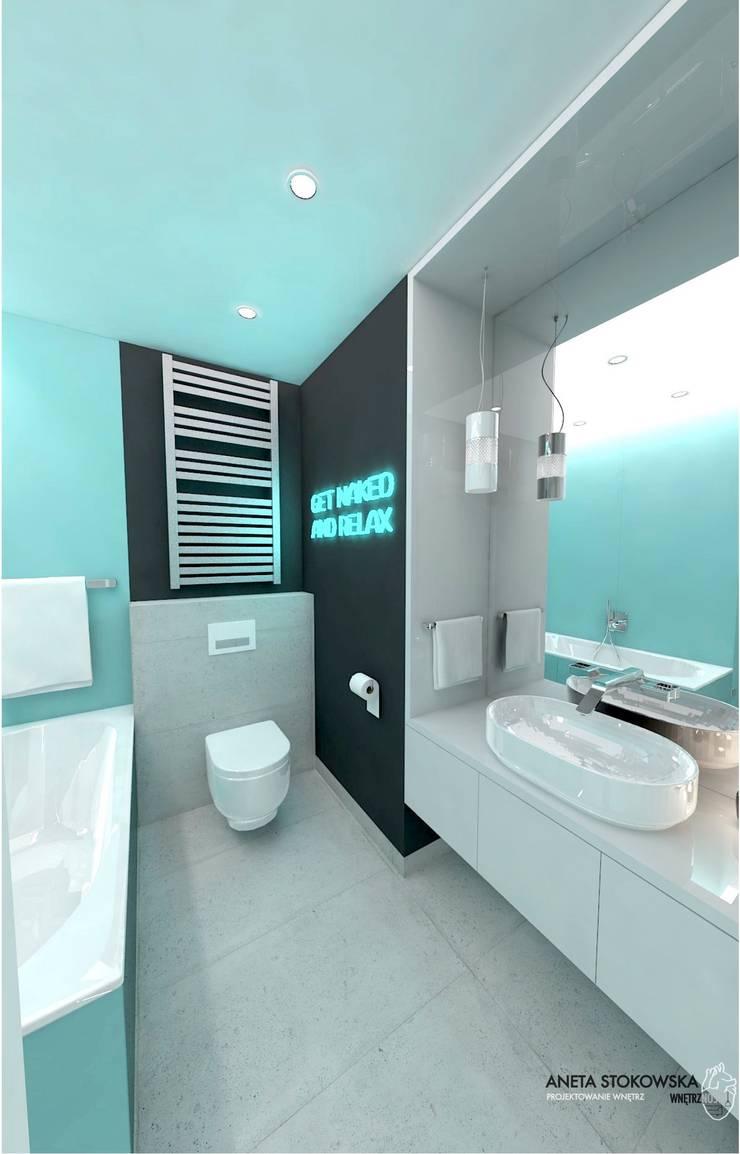 ŁAZIENKA TURKUS: styl , w kategorii Łazienka zaprojektowany przez WNĘTRZNOŚCI Projektowanie wnętrz i mebli