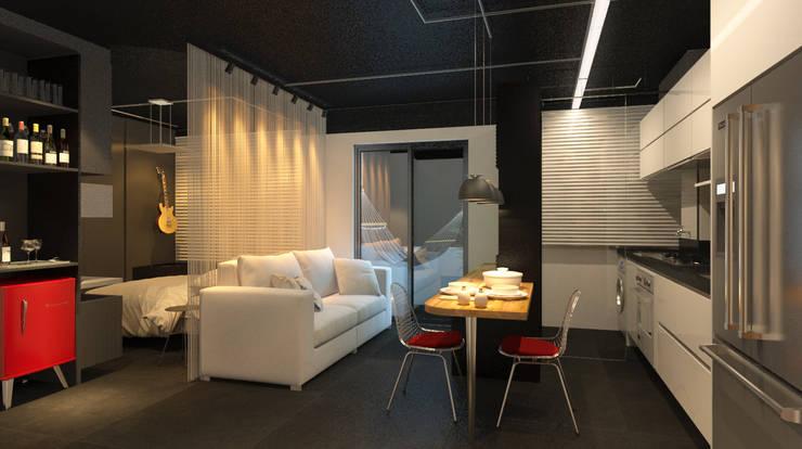 Salon de style  par Eduardo Novaes Arquitetura e Urbanismo Ltda.,