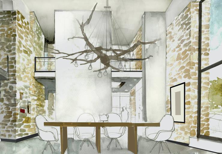 Dom w Mirowie. Wizualizacja/szkic jadalni.: styl , w kategorii  zaprojektowany przez Scope Interior Design Piotr Skorupa