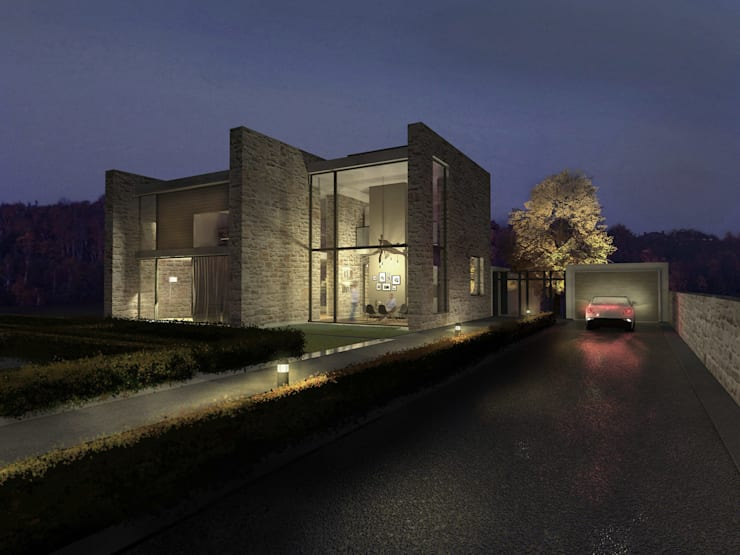 Dom w Mirowie. Widok od strony ul. Mstowskiej.: styl , w kategorii  zaprojektowany przez Scope Interior Design Piotr Skorupa