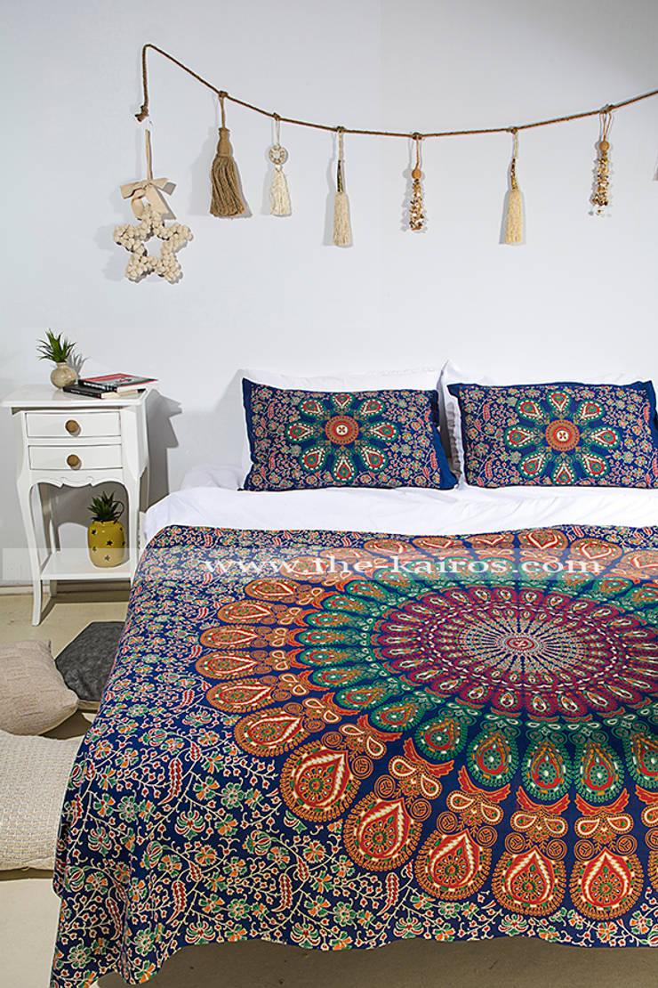 THE KAIROS – Sita Twin Size Bedspread/Throw/Tapestry:  tarz , Rustik Pamuklu Kırmızı