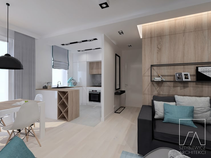 Mieszkanie Warszawa Wola: styl , w kategorii Jadalnia zaprojektowany przez SZTYBLEWICZ ARCHITEKCI,Nowoczesny
