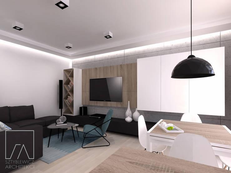 Mieszkanie Warszawa Wola: styl , w kategorii Salon zaprojektowany przez SZTYBLEWICZ ARCHITEKCI,Nowoczesny