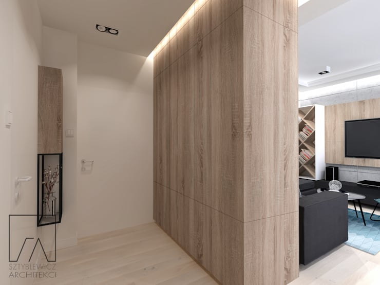 Mieszkanie Warszawa Wola: styl , w kategorii Korytarz, przedpokój zaprojektowany przez SZTYBLEWICZ ARCHITEKCI,Nowoczesny