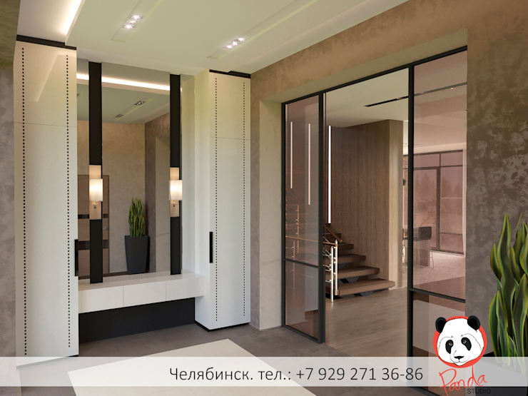 Modern private house:  Corridor & hallway by Panda Studio