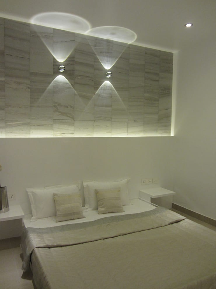 VRR BUILDERS, MOCK UP APARTMENT, BANGALORE. (www.depanache.in):  Bedroom by De Panache  - Interior Architects,Modern