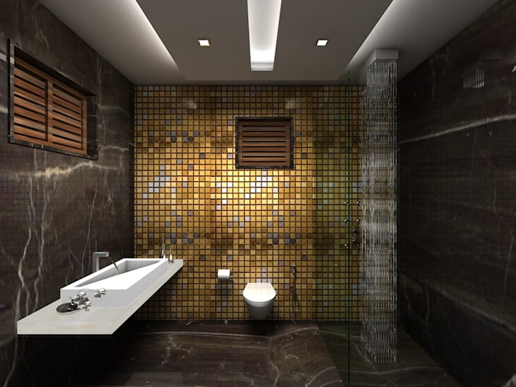 RESIDENTIAL INTERIORS AT TRICHY. (www.depanache.in):  Bathroom by De Panache  - Interior Architects