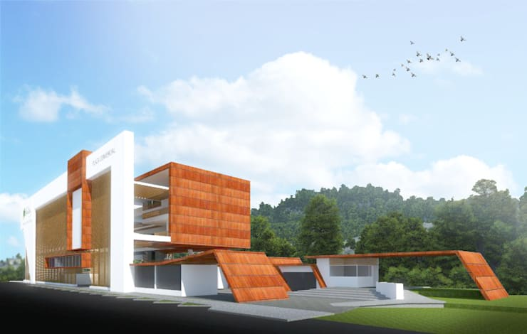 Centro comercial: Centros comerciales de estilo  por Jorge Osorio Arquitecto, Moderno Madera Acabado en madera