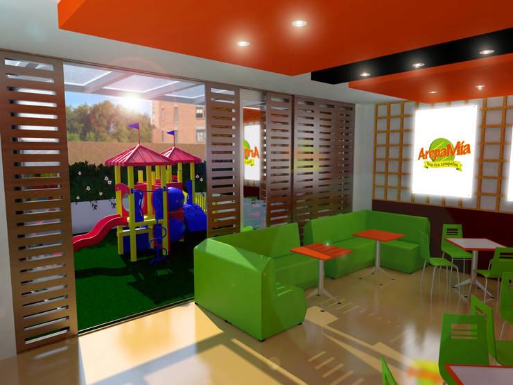 Local comercial: Locales gastronómicos de estilo  por Jorge Osorio Arquitecto, Moderno Compuestos de madera y plástico