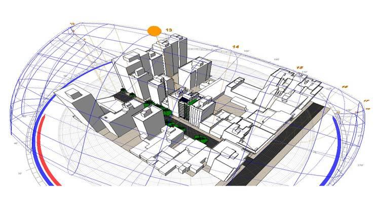Axonometría del entorno: Edificios de Oficinas de estilo  por Estudio Feldman - Arquitectura Sustentable
