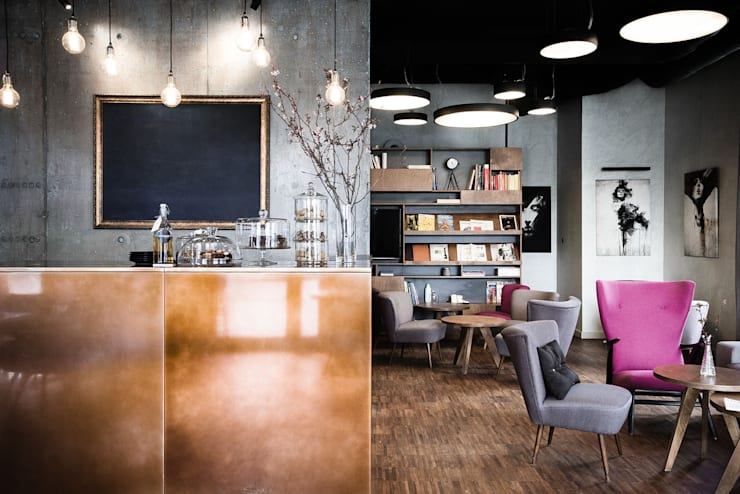 Restauracja OTWARTA: styl , w kategorii Gastronomia zaprojektowany przez INTERURBAN