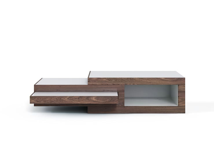REK salontafel (noten): modern  door Reinier de Jong Design, Modern Massief hout Bont