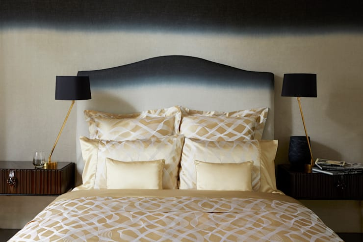 Rubans Gold silk cotton bed linen:  Bedroom by Gingerlily