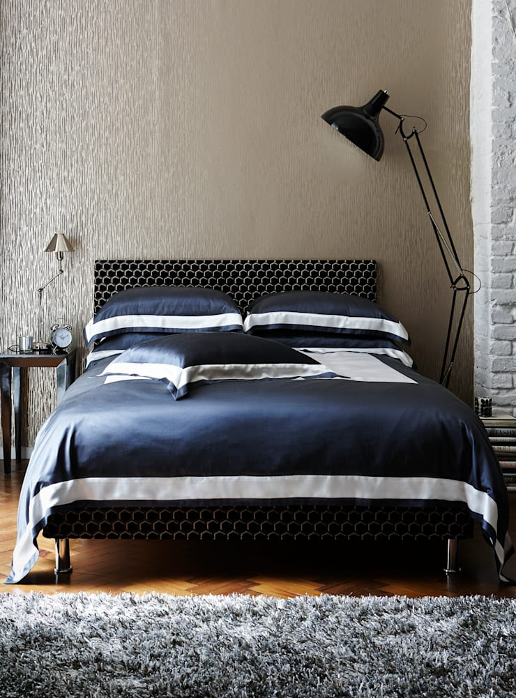 City Slate silk cotton bed linen:  Bedroom by Gingerlily