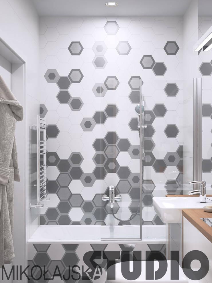 łazienka hexagony: styl , w kategorii  zaprojektowany przez MIKOŁAJSKAstudio