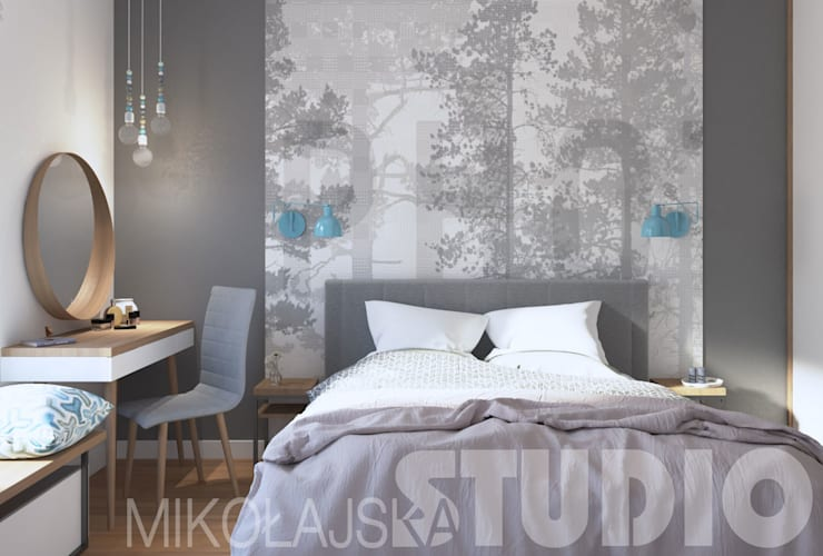 nowoczesna sypialnia: styl , w kategorii  zaprojektowany przez MIKOŁAJSKAstudio