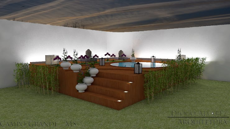 Área de lazer com ofurô : Spas  por Diogo Alvarez Arquitetura e projetos 3D,