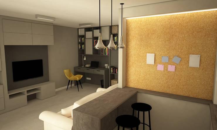 PROJEKT MIESZKANIA, BIAŁYSTOK: styl , w kategorii Salon zaprojektowany przez IN STUDIO PRACOWNIA PROJEKTOWA