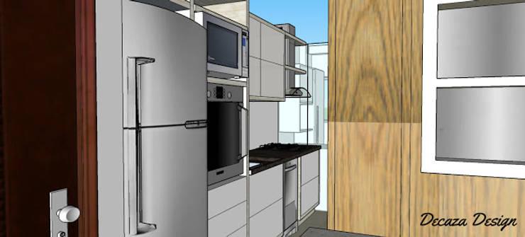 Cozinha Pequena Planejada - Projeto em 3D: Cozinhas  por DecaZa Design,