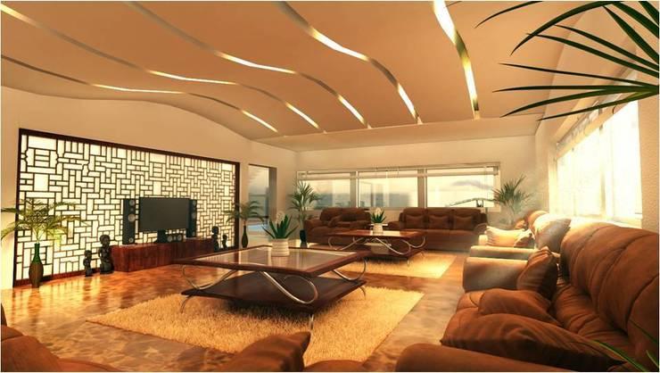 PRATIKSHA:  Living room by PADARRPAN ARCHITECTS