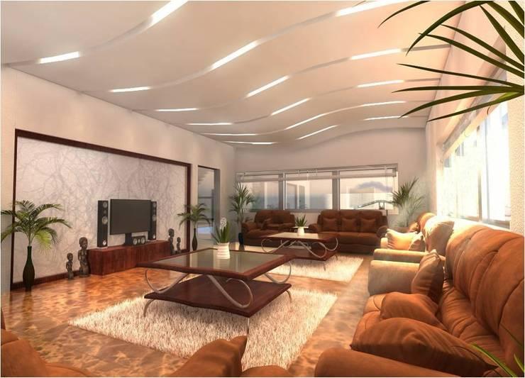 PRATIKSHA:  Living room by PADARRPAN ARCHITECTS,Modern