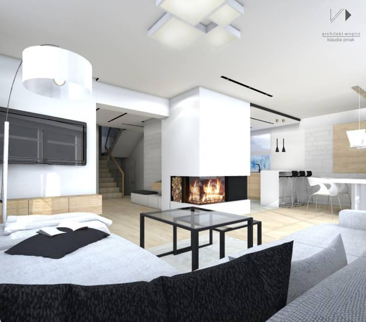 Salon: styl , w kategorii  zaprojektowany przez Architekt wnętrz Klaudia Pniak