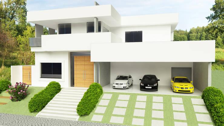 Vista frontal: Casas  por Sieg Arquitetura e Construção,