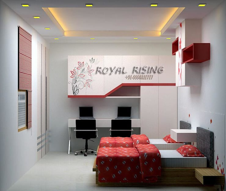 Feel Royal & luxury living in compact & narrow flat space.: modern Bedroom by Royal Rising Interiors