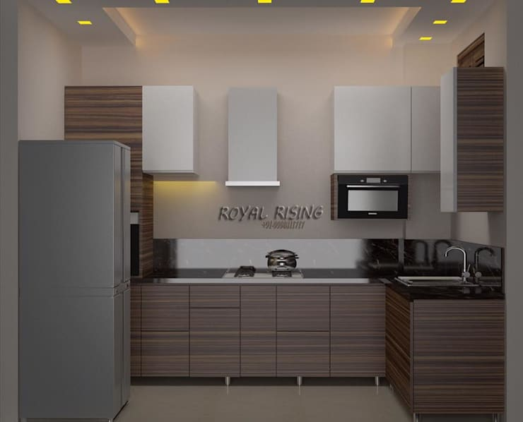Feel Royal & luxury living in compact & narrow flat space.:  Kitchen by Royal Rising Interiors