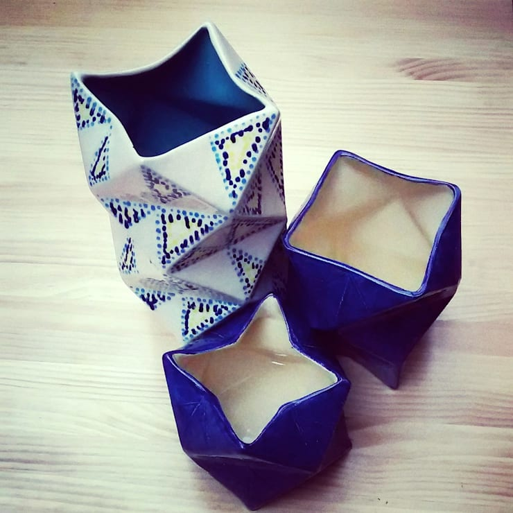 Floreros Origami: Cocina de estilo  por ManoLatina