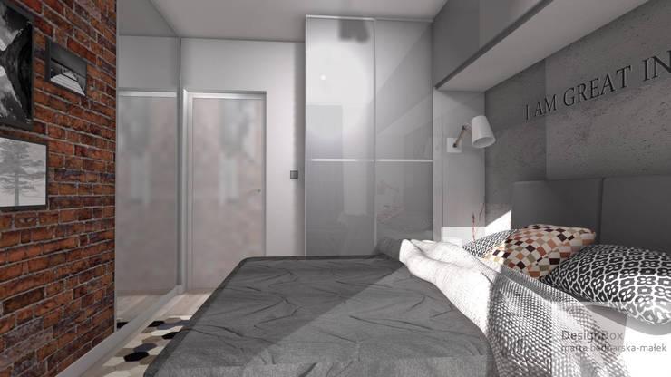 Industrialna sypialnia: styl , w kategorii  zaprojektowany przez Designbox Marta Bednarska-Małek
