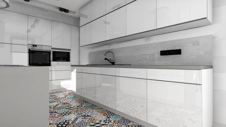 Biała kuchnia: styl , w kategorii  zaprojektowany przez Designbox Marta Bednarska-Małek