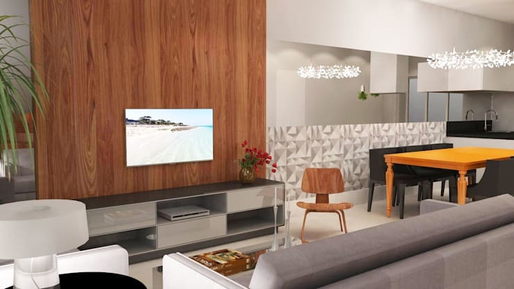 Livings de estilo  por Arquiteto Virtual - Projetos On lIne, Moderno