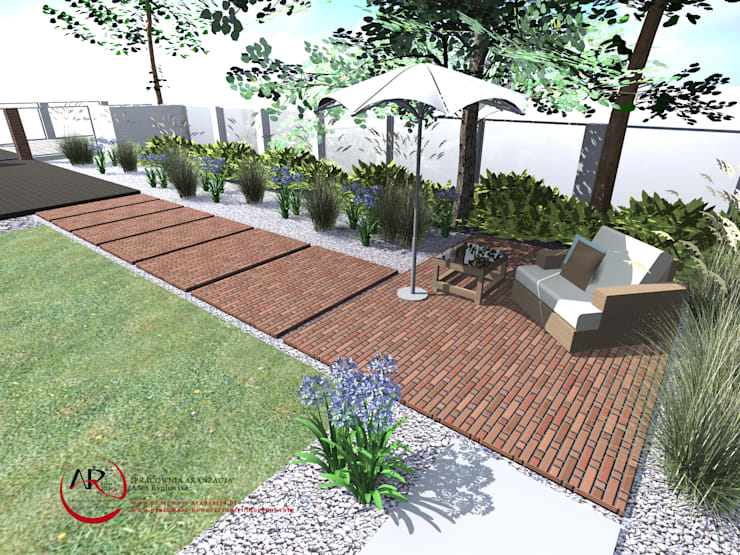 nowoczesny ogród z użyciem cegły rozbiórkowej: styl , w kategorii Ogród zaprojektowany przez PRACOWNIA ARANŻACJA ANNA RYPLEWSKA,Nowoczesny
