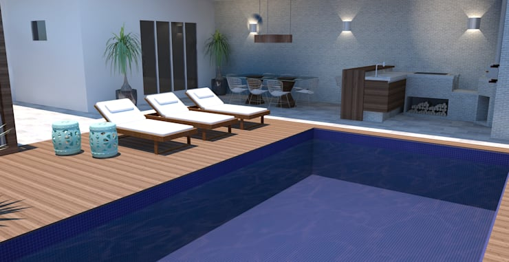 Pool von Arquiteto Virtual - Projetos On lIne, Modern Holz Holznachbildung