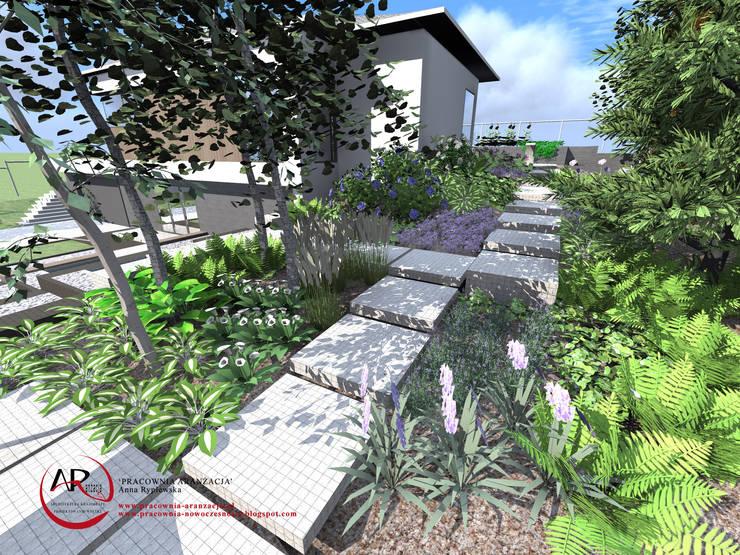 ogród nowoczesny na skarpie: styl , w kategorii Ogród zaprojektowany przez PRACOWNIA ARANŻACJA ANNA RYPLEWSKA,Nowoczesny