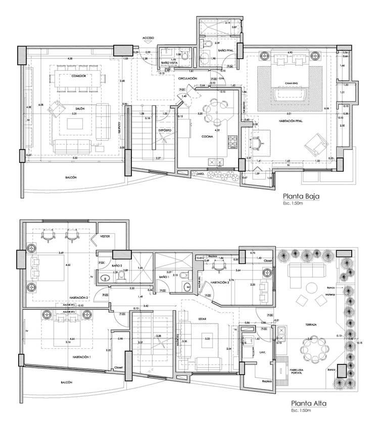 Planos de Distribución y Mobiliario: Paredes de estilo  por 5D Proyectos
