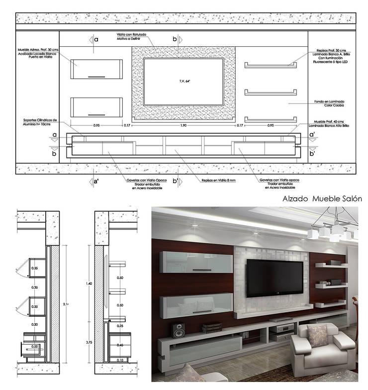 Planos de Detalles y 3Ds de Mueble de Entretenimiento: Salas / recibidores de estilo  por 5D Proyectos