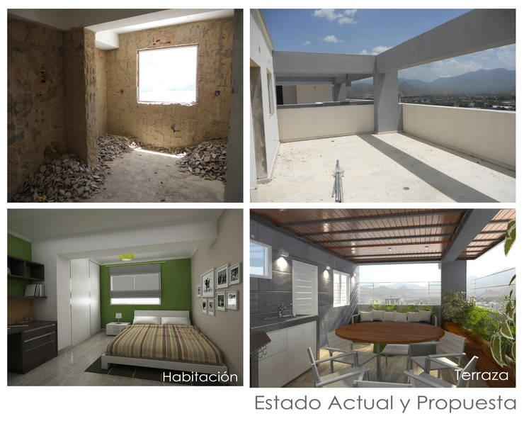 Estado Original y Propuesta: Terrazas de estilo  por 5D Proyectos