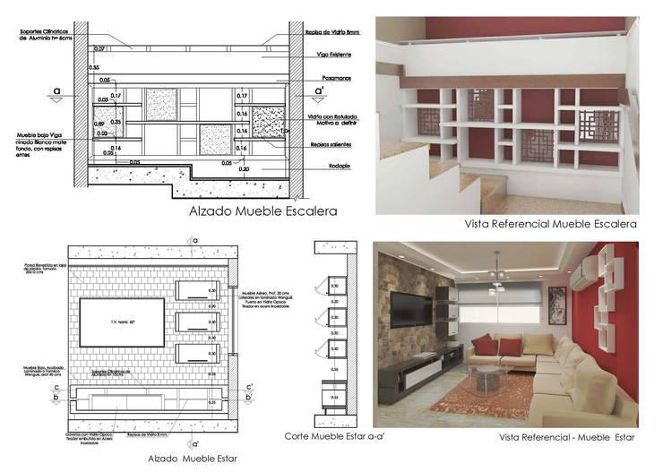 Detalles: Salas / recibidores de estilo  por 5D Proyectos