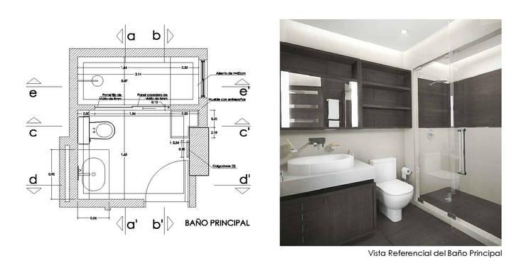 Diseño de Interiores de Apto. Residencial : Baños de estilo  por 5D Proyectos