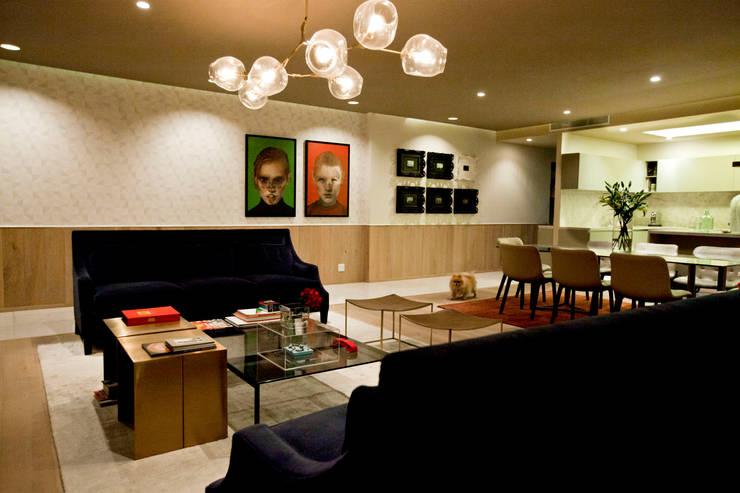 Departamento en Santa Fe: Salas de estilo  por MAAD arquitectura y diseño