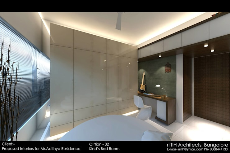 Flat Interiors:  Bedroom by riiTiH Architects ,Modern