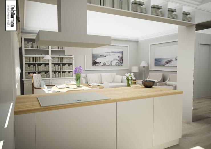 Kuchenna wyspa z białą płytą indukcyjną: styl , w kategorii Kuchnia zaprojektowany przez DelaBartman