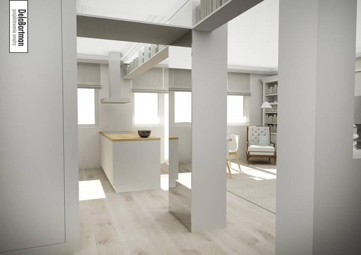 Lustro na wymiar poszerzające przestrzeń: styl , w kategorii Korytarz, przedpokój zaprojektowany przez DelaBartman