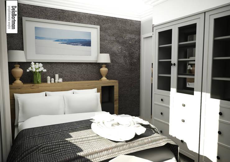 Zagłówek łóżka z wnęką i szufladami: styl , w kategorii Sypialnia zaprojektowany przez DelaBartman