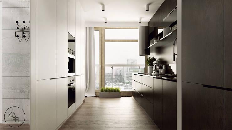 KOLEJOWA: styl , w kategorii Kuchnia zaprojektowany przez KAEL Architekci,Nowoczesny Drewno O efekcie drewna